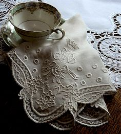 ⌖ Linen & Lace Luxuries ⌖  gorgeous monogrammed embroidered vintage hankie