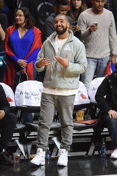 Drake wearing  Palace Half Placket Thinsulate Puritan Grey, Jordan OVO Air Jordan 8
