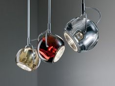 Chrome plated pendant lamp Beluga Colour Collection by Fabbian | design Marc Sadler