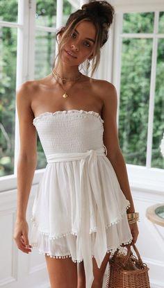 Cotton And Linen Ruffled Chest Strap Dress - vestidos - Summer Dress Outfits White Dress Summer, Casual Summer Dresses, Cute Summer Outfits, White Casual Dresses, Casual Sundresses, Dress For Beach, White Beach Dresses, Cute Summer Rompers, Cute Rompers
