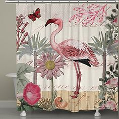 cb654bd3d Ornately designed with a pink flamingo standing amidst a colorful collage  of beautiful flowers, the Laural Home Botanical Flamingo Shower Curtain is  sure to ...