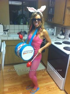 Everyone LOVED this Energizer Bunny Costume! It is one of my all time favorites and both easy and cheap to make. The battery pack and drum MADE ...