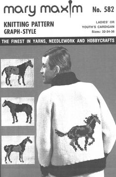 Mary Maxim - Ladies' or Youth's Horse Cardigan Pattern - Patterns - Patterns & Books Pattern Books, Pattern Paper, Cowichan Sweater, Knitting Patterns, Crochet Patterns, Cardigan Pattern, Knitting Socks, Needlework, Knit Crochet