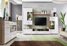 Living Room White high gloss chest of drawers shelve storage display cabinet tv Entertainment Wall Units, Living Room Entertainment Center, Tv Design, Modern Wall Units, Living Room Wall Units, Home And Living, Living Room Furniture, Diy Furniture, Led