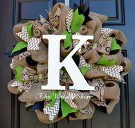 Burlap Monogram Wreath with Black White and Green
