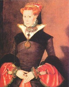 """A rare portrait of Mary I as queen. She was the only child born of the ill-fated marriage of Henry VIII and his first wife Catherine of Aragon who survived to adulthood. Born 18 February 1516 – 17 November 1558. She was was Queen of England and Ireland from July 1553 until her death. Her brutal persecution of Protestants caused her opponents to give her the sobriquet """"Bloody Mary""""."""