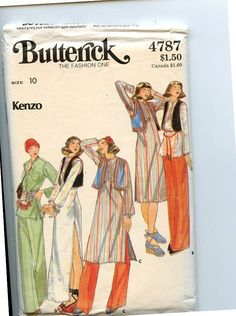 Butterick 4787 1975ish Kenzo's take on a classic Punjabi Suit AKA Salwar Kameez. Variations on this design are flattering for all for all shapes and sizes. This shirt style is a Kurti and is based on Indian menswear.