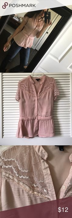 Lace button up blouse Lace button up blouse with short sleeves. Has some imperfections but nothing too noticeable (pictured) Tops Blouses