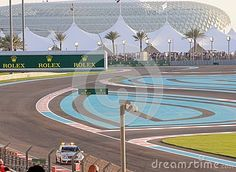 Yas Formula One marina circuit official safety car making a run around the track