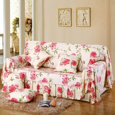 2016 New Arrival Cotton Printed Pastoral Plant Sectional Sofa Cover Set Fabric Sofa Slipcover Fabric Cover Sofa Furniture Slipcovers, Shabby Chic Furniture, Slipcover Sofa, Sofa Seats, Sectional Sofa, Sofas Vintage, Floral Sofa, Modern Sofa Designs, Linen Sofa
