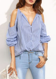 Early autumn must-have for women. New fashion with drop shoulder & v neck. Love it for work! Blue Stripe V Neck Cold Shoulder Long Sleeve Blouse from shein.com.
