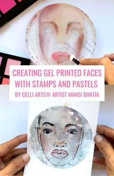 In this Women's History Month project, Gelli Arts® Artist Mansi Bhatia creates bookbinded gel prints with faces created by stamps and pastels! Gelli Printing, Screen Printing, Gelli Arts, Collagraph, Women's History, Pastels, Printmaking, Stamps, Faces