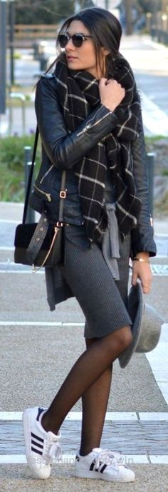 Cool Federica L + smart casual look + classic Adidas superstars + pencil skirt + leather jacket+ achievable and affordable Sweater: Zara, Jacket: Pull & Bear, Shoes: Adidas, Bag: The Archidu ..