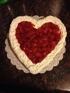 Strawberry heart shaped cheesecake
