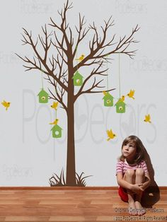 Love Home Tree Decal (78inch H)- Tree and Birds Vinyl Wall  Decals Stickers  by Pop Decors. $58.00, via Etsy.