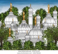 Mughal Arch Garden Illustration Manual Artwork Stock Illustration 1592795542 Mughal Paintings, Garden Illustration, Taj Mahal, Manual, Arch, Royalty Free Stock Photos, Artwork, Image, Longbow