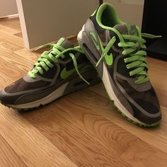 Nike Airmaxx green with army fatigue  pattern These are hot!!! One of a kind. Bright green with army fatigue pattern. Wore a few times, good condition. Very comfortable Nike Shoes Sneakers
