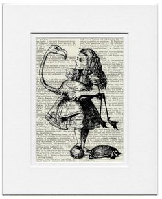 Alice in Wonderland and her flamingo printed on old dictionary page