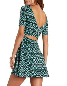 Back Cut-Out Tribal Print Skater Dress from Charlotte Russe