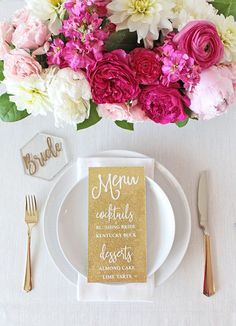 Gold Glitter and Pink Floral Place Setting #weddingdecor #weddingdetails #glitter #wedding #weddings #weddingideas #weddingcolors #gold #metallic #sparkle