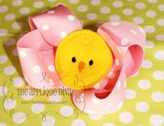 Spring Easter Chick Bow Center