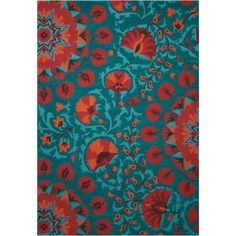 """Nourison Suzani SUZ02 Hand-tufted Area Rug - On Sale - Overstock - 7599401 - 2'3"""" x 8' Runner - Teal Teal Rug, Teal Area Rug, Area Rugs For Sale, Rug Material, Indoor Rugs, Wool Area Rugs, Rug Making, Persian Rug, Runes"""