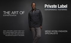 GA Creative Brands' Private Label Men's Work-Fashion Specialists - home of Jonathan D and Cutty. Designed to provide our clients with a top-notch clothing manufacturing service, GA Creative Brands works with you to design and create your very own label. Creative Brands, Slim Fit Trousers, Private Label, Work Fashion, Night Out, Create, Boys, Long Sleeve, Clothing
