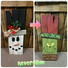 Reversible Fall/ Winter scarecrow handmade by SBT Scrap Creations