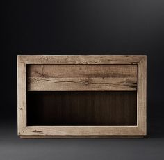 """RH Modern's Reclaimed Russian Oak 40"""" Open Nightstand:Handcrafted of solid reclaimed white oak timbers from decades-old buildings in Russia, our dresser is simple and functional in design. A salute to clean and contemporary style, each piece celebrates the unadorned beauty of salvaged wood.SHOP THE ENTIRE COLLECTION ▸"""