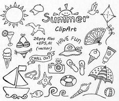 BIG SET von Doodle Sommer Cliparts Hand von PassionPNGcreation