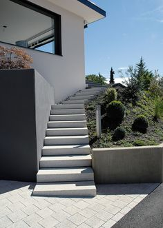 The Tocano step program harmoniously integrates steps and stairs into the garden . The Tocano step program integrates steps and stairs harmoniously into the garden design. With blasted visible surfaces i. Build A Fireplace, Brick Fireplace, Step Program, Paving Stones, Amazing Gardens, Backyard Landscaping, Exterior Design, Bungalow, Architecture Design