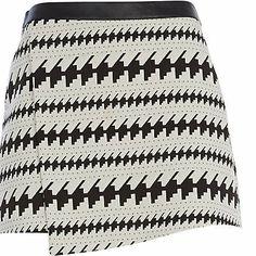 Cream jacquard wrap mini skirt #riverisland
