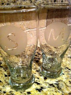 DIY: Etched Monogram Glasses~ easy gift idea for a wedding gift or the holidays!