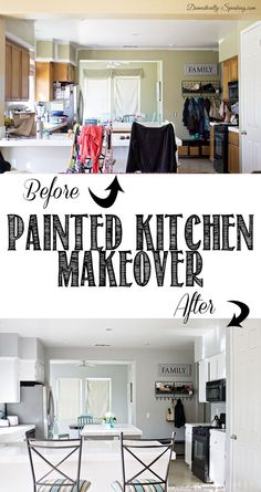 Before and After Painted Kitchen ~ Gray and White Makeover at Domestically-Spea....