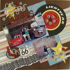 """Get Your Kicks on Route 66 ... Disney Cars scrapbook page; like the angle, the ruffled 'checkered flag' ribbon, and the giant """"Lightyear"""" tire! :)"""
