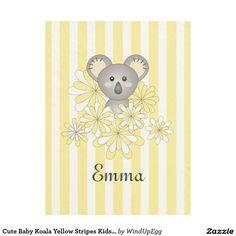 Cute Animal Yellow Striped Fleece Blanket - Baby Koala #babyboy #babygirl #babyshowergifts #bedding #bedroom #gift #giftideas