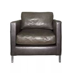 Lounge chair upholstered in leather on stainless steel legs
