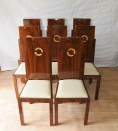 1920 Art Deco Furniture | Details about Set Art Deco Dining Chairs Inlay Chair 1920s Furniture