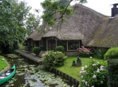 Giethoorn, Holland -- no streets. The only way to travel is by walking, bicycling, or canooing