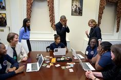 """""""The President mimics a middle-school student overcome with emotion at meeting him during an 'Hour of Code' event to honor Computer Science Education Week at the Eisenhower Executive Office Building."""" Official White House Photo by Pete Souza Decembr 8, 2014)"""