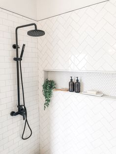 Use subway tile but mix up the installation patter for a unique look in your shower. #bathroomdesign #interiordesign
