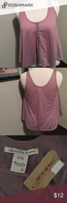 American rag button front tank Snap button front tank. Cute lavenderish mauve color. New with tags. American Rag Tops Tank Tops