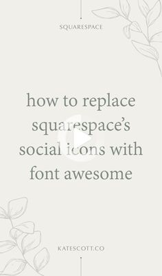 Squarespace's social icons are a hot, mismatched mess. Here's how you can replace them with elegant matching Font Awesome icons! | Squarespace Tutorial Design | Fontawesome Icons | Web Design Tutorial | Squarespace Design #webdesign #webdesign2020 Web Design Tips, Web Design Tutorials, Match Font, Social Media Icons, Business Design, Elegant, Awesome, Hot, Classy