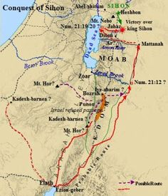 A map of the conquest of Sihon, whose land was settled by the tribes of Gad and Reuben. The tribe of Manasseh settled in the land of Bashaan, north of Sihon.