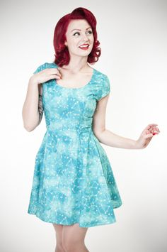 Roxie Dress - Teal Constellations