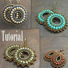 Jewelry Making Beads Bead Woven Medallion Earrings - I have just finished writing my jewelry making tutorial. This one was a little tricky for me, as it was my first with bead weaving and since I have been self taught all of the techniques I use… Wire Jewelry, Jewelry Crafts, Beaded Jewelry, Handmade Jewelry, Jewelry Ideas, Jewelry Tree, Jewelry Stand, Jewelry Armoire, Dainty Jewelry