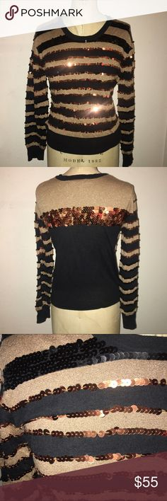 1 HR SALE MARC BY MARC JACOBS STRIPE SWEATER Never been worn, but tags have been removed. Sequin striped sweater by Marc by Marc Jacobs. Gold/black stripes with copper sequin detail. All sequins are in tact. Cotton blend. Perfect for fall!! Marc by Marc Jacobs Sweaters Crew & Scoop Necks