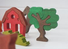 Handmade Waldorf Wooden Farm Animals Set.  The set contains 6 animals + 3 trees + 1 house.  SIZE: All figurines has width 0,47 (1,2 cm)  Animals: 1. Cow - 3,15 x 4,72 / 8cm x 12cm 2. Horse - 3,94 x 3,94 / 10cm x 10cm 3. Goat - 3,54 x 3,35 / 9cm x 8,5cm 4. Sheep - 3,74 x 2,76 / 9,5cm x 7cm 5. Dog - 3,15 x 2,56 / 8cm x 6,5cm 6. Cat - 2,76 x 2,17 / 7cm x 5,5cm  Trees: 7. Tree 1 - 3,94 x 3,35 / 10cm x 8,5cm 8. Tree 2 - 3,15 x 3,54 / 8cm x 9cm 9. Small Tree ...