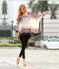 Stylish Chiffon Beige Black Chevron Kimono Tunic Top