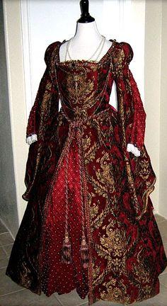 """16世紀ルネッサンス貴族女性。イタリアから全ヨーロッパへ。Sopraveste(ソプラヴェステ)=長袖のワンピース。 Robe(ローブ)ともいい、腰から下のスカート部分は大きく広がっている。   襟ぐり。若い女性の着るソプラヴェステの襟ぐりは   大抵大きく広がっているが年配者は首まで隠しているデザインを選ぶ。若い女性でも、威厳を重視する場合(女王として登場する時など)は、襟ぐりを広げすぎることはない。 ウェストのくびれの位置は自然になっている。ルネサンス以前の衣装は、  バストのすぐ下あたりにウェストのくびれがあり、そこからすぐスカートが広がるという不自然なものだった。 ボルサ(伊Borsa)=女性の衣装にはポケットがないため、ベルトの紐の先にボルサという巾着袋をぶら下げて小物を入れておく。紐の両端に一つずつボルサをぶら下げている人もたくさんいた。中には、片方はボルサ、片方には扇をつけていた例もある。""""We also specialize in designing gowns of the finest materials. Our crimson brocade is a…"""